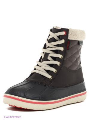 Ботинки CROCS. Цвет: коричневый, черный