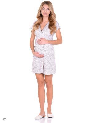Ночная сорочка для беременных и кормящих FEST. Цвет: белый, коричневый
