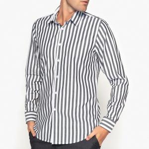 Рубашка в полоску с длинными рукавами La Redoute Collections. Цвет: в полоску черный/белый