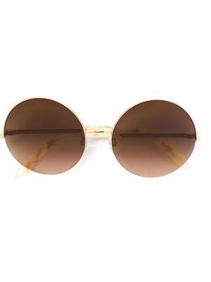 Солнцезащитные очки в круглой оправе Victoria Beckham. Цвет: телесный