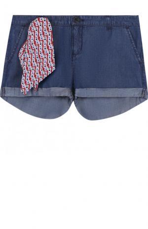 Мини-шорты с декоративным платком Armani Junior. Цвет: синий