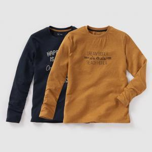 Комплект из 2 футболок с длинными рукавами, 10-16 лет R édition. Цвет: синий морской + шафран