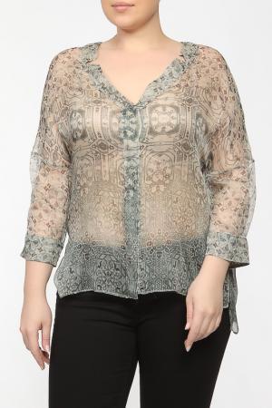 Рубашка-блузка Elena Miro. Цвет: зеленый, бежевый, принт