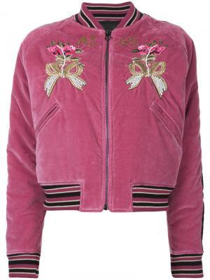 Куртка-бомбер с цветочной вышивкой As65. Цвет: розовый и фиолетовый