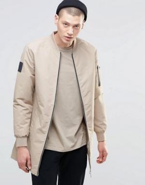 N1SQ Удлиненная спортивная куртка. Цвет: бежевый