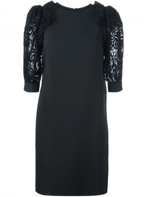 Вечернее платье с кружевным верхом Emanuel Ungaro. Цвет: чёрный
