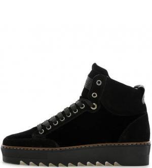 Черные ботинки из замши и текстиля NOBRAND. Цвет: черный