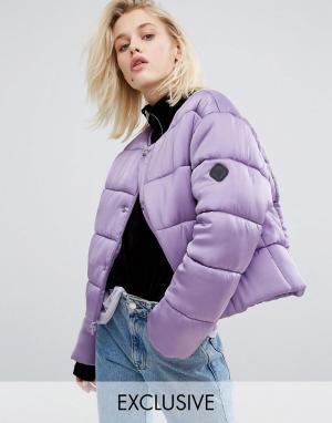 Puffa Дутая оversize-куртка из премиум-атласа без воротника. Цвет: фиолетовый