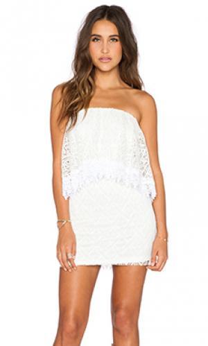 Кружевное мини-платье без бретель T-Bags LosAngeles. Цвет: белый