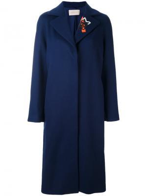 Пальто с вышивкой на воротнике Christopher Kane. Цвет: синий
