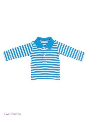 Лонгслив-поло United Colors of Benetton. Цвет: синий, голубой, кремовый