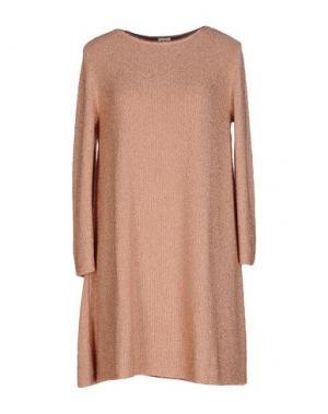 Короткое платье SIYU. Цвет: телесный
