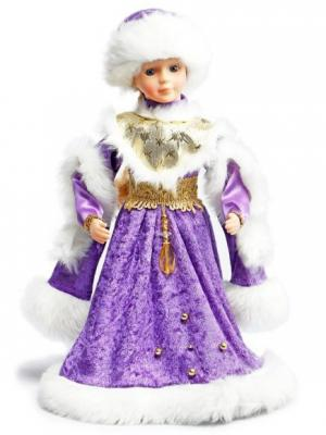 Снегурочка в фиолет.мех. муз. 40 см, песенка Маленькой елочке Новогодняя сказка. Цвет: фиолетовый, белый