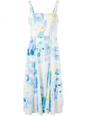 Платье миди с принтом Louis Feraud Vintage. Цвет: белый