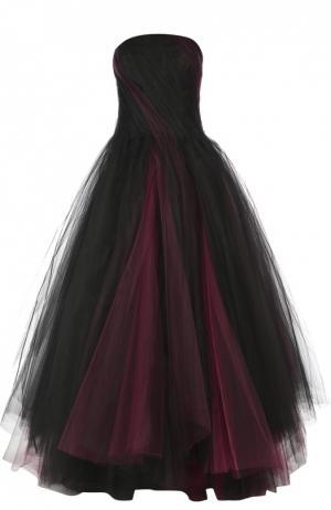 Многослойное платье-бюстье в пол Oscar de la Renta. Цвет: бордовый