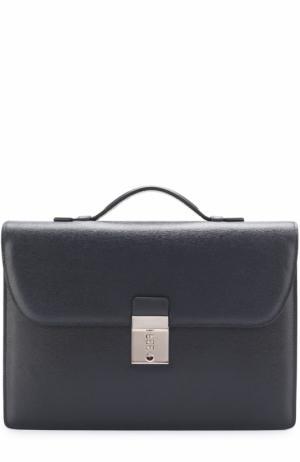 Классический кожаный портфель Canali. Цвет: темно-синий