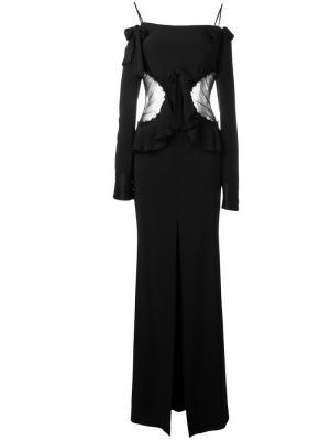 Вечернее платье с открытыми плечами Alessandra Rich. Цвет: чёрный