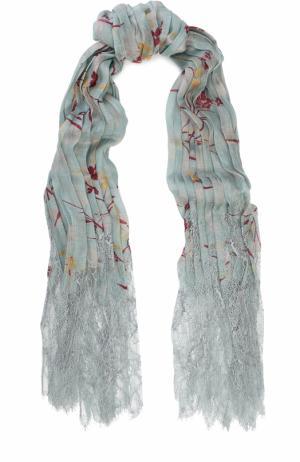 Плиссированная шаль из кашемира с кружевной отделкой Valentino. Цвет: светло-голубой