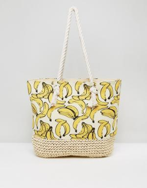 New Look Пляжная сумка с бананами. Цвет: желтый