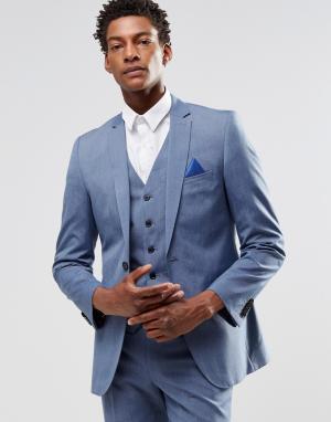 Harry Brown Светло-голубой пиджак узкого кроя. Цвет: синий