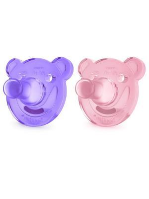 Цельно-силиконовые пустышки Philips Avent Мишка SCF194/02, 2 шт, 0-3 мес.. Цвет: розовый, фиолетовый
