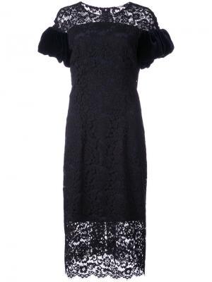 Кружевное платье с бархатными рукавами Monique Lhuillier. Цвет: чёрный