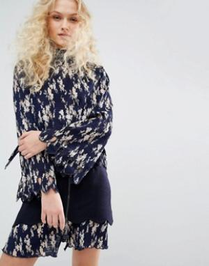 I Love Friday Плиссированная рубашка с цветочным принтом и бантом-завязкой Fr. Цвет: темно-синий