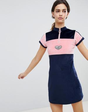 Lazy Oaf Велюровое платье с воротником на молнии. Цвет: темно-синий