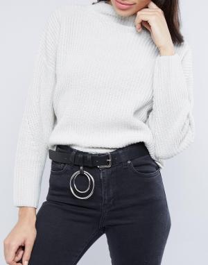 ASOS Ремень под джинсы с кольцами. Цвет: черный