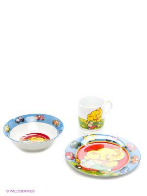 Детский набор 3 предмета Слон LORAINE. Цвет: голубой, красный
