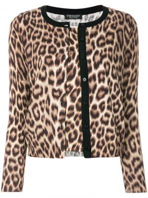 Трикотажный свитер в стиле кардигана с леопардовым принтом Twin-Set. Цвет: коричневый
