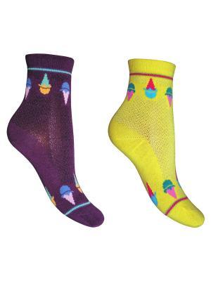 Носки 2 пары Master Socks. Цвет: желтый, фиолетовый
