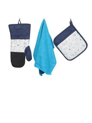 Набор кухонных принадлежностей с неопреном : рукавица, прихватка, полотенце ТекСтиль для дома. Цвет: синий, голубой