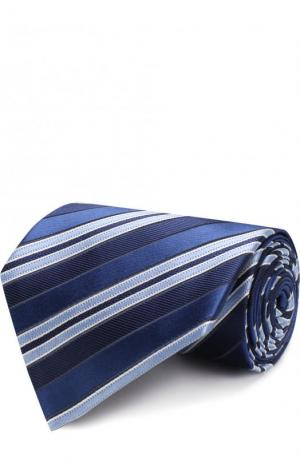 Шелковый галстук в полоску Z Zegna. Цвет: темно-синий