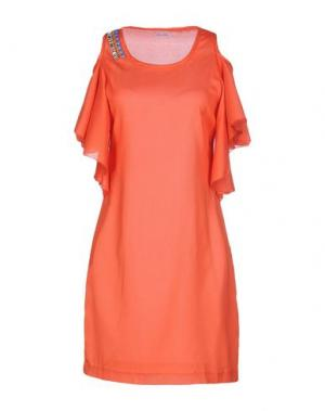 Короткое платье BEAYUKMUI. Цвет: оранжевый