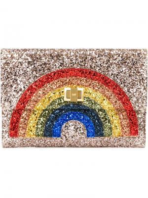 Блестящий чехол с радугой Anya Hindmarch. Цвет: металлический