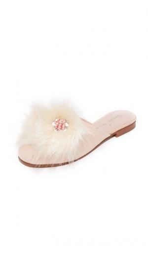 Пушистые туфли-слипперы без задников Alameda Turquesa. Цвет: оранжевый