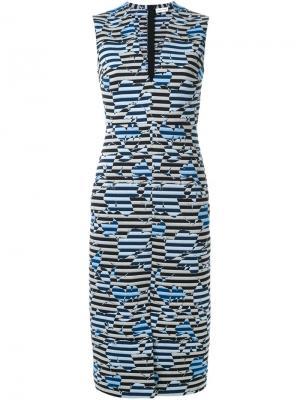 Полосатое облегающее платье с V-образным вырезом Scanlan Theodore. Цвет: синий