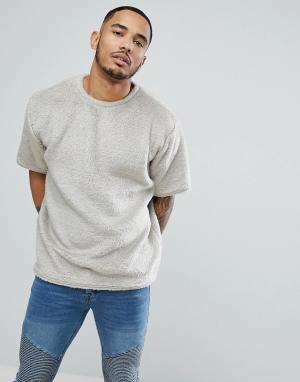 BoohooMAN Бежевая оверсайз-футболка с воротником из искусственного меха boohooMA. Цвет: светло-бежевый