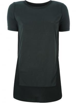 Удлиненная футболка с драпированными деталями Demoo Parkchoonmoo. Цвет: чёрный