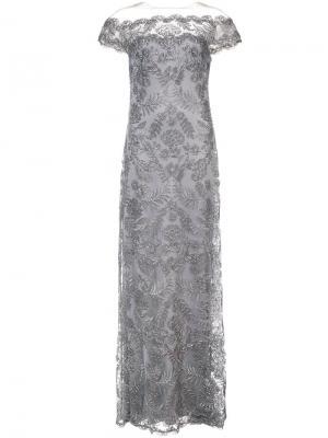 Длинное платье с открытым плечами и цветочной вышивкой Tadashi Shoji. Цвет: серый