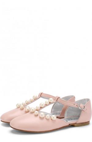 Кожаные балетки на ремешке с жемчужинами Simonetta. Цвет: розовый