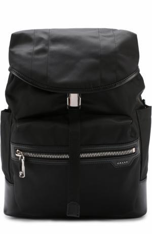 Текстильный рюкзак с отделкой из натуральной кожи Bally. Цвет: черный