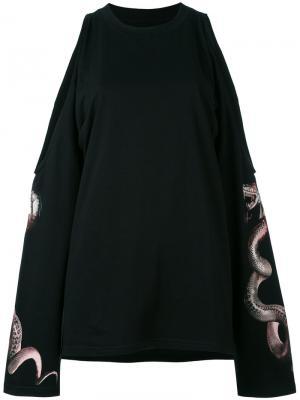 Блузка с открытыми плечами Misbhv. Цвет: чёрный