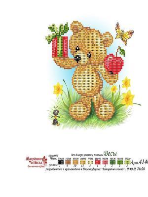 Рисунок на шелке Мишка Весы Матренин Посад. Цвет: коричневый