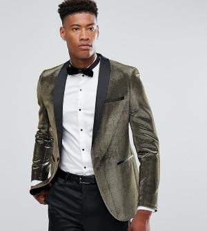 ASOS Золотистый пиджак скинни TALL. Цвет: золотой