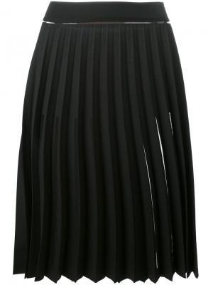 Плиссированная юбка с прозрачными панелями Ssheena. Цвет: чёрный