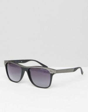 Black Phoenix Круглые солнцезащитные очки цвета пушечной стали. Цвет: черный
