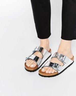 Birkenstock Серебристые сандалии для узкой стопы Arizona. Цвет: серебряный
