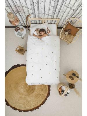 Комплект постельного белья Лесные друзья 150х200см SNURK. Цвет: белый, серо-коричневый, коричневый